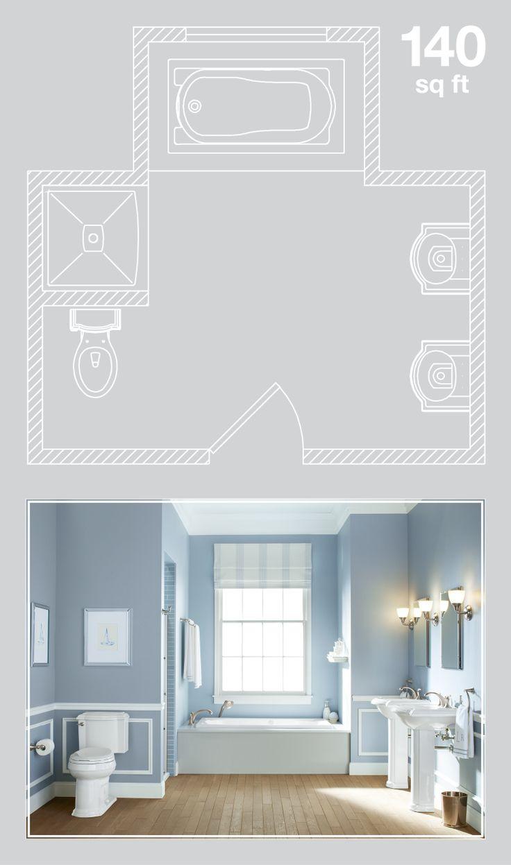 Blue bathroom design ideas 140-square-foot bathroom.