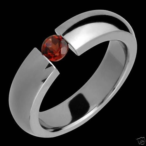 New Cubic Zirconia Titanium Ring Wedding Band Garnet Promise Ring Free Sizing #AlainRaphael #Band