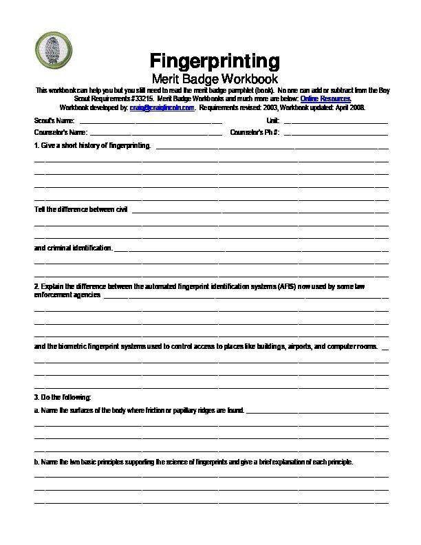 Fire Safety Merit Badge Worksheet Fingerprinting Merit Badge Worksheet M34m Zl6