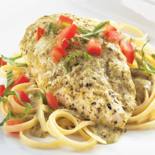 Creamy Lemon-Pesto Chicken & Linguine - The Pampered Chef®  LOVE this recipe! Even my 3 year old enjoys it, at least the chicken...  I use only 3 chicken breasts and keep the same amount of sauce. Delicious!