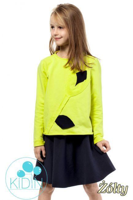 CM2028 Dziewczęca bluza z ozdobnym kwiatkiem - żółta