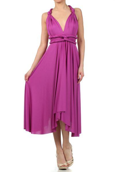 Short Convertible Wrap Bridesmaids Dress in Purple