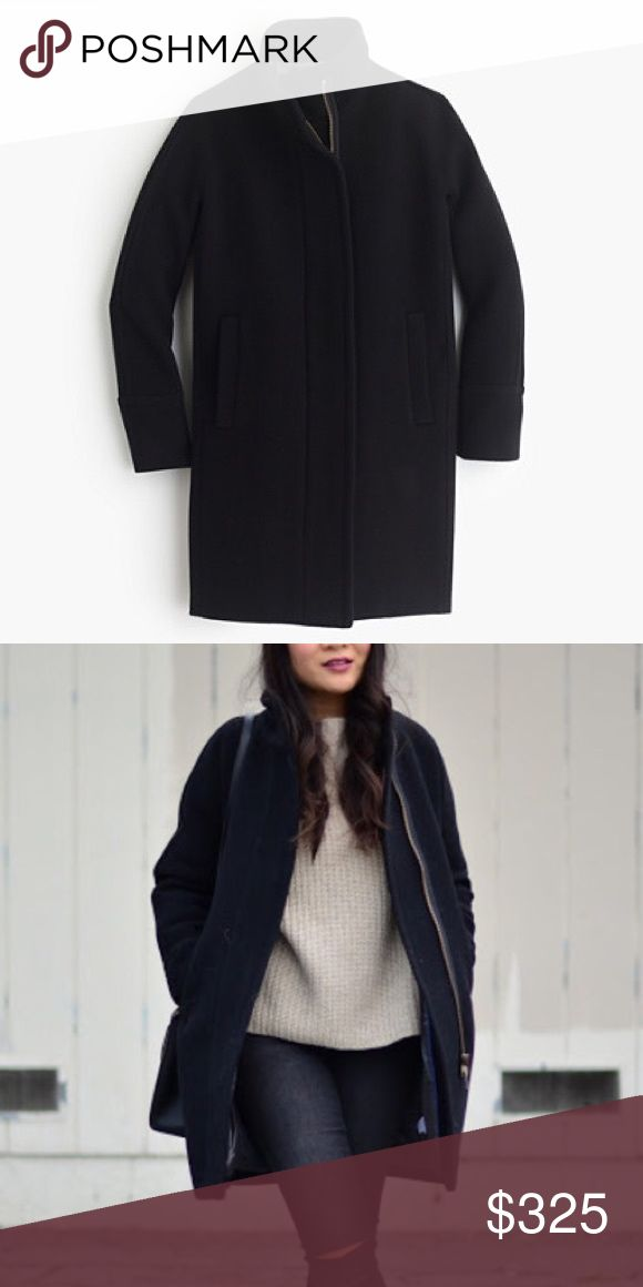New Jcrew Black Wool Pea Coat stadium cloth Cocoon New Jcrew BLACK stadium cloth wool cocoon coat. This listing is for the black coat as seen in pictures 1 and 2. The third purple coat photo is just to show the style of the coat. No rips, stains, etc. J. Crew Jackets & Coats