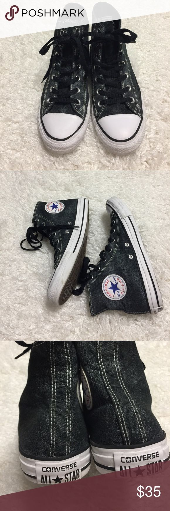 Converse Women High Cut Black Metallic Silver Women Shoes from Converse. Size US 8. Excellent used condition. Converse Shoes Athletic Shoes