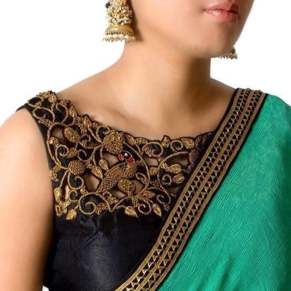 Black Silk Blouse & Turquoise Sari with Black & Gold Border. Simple and elegant sari that can be worn to a puja or a party.