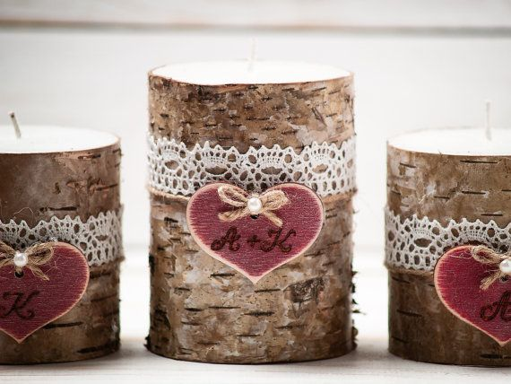 Rustic Unity Candle Set Personalized Birch Bark Candles Wedding Ceremony Candles Unity Ceremony Wedding Decor Rustic Woodland Outdoor