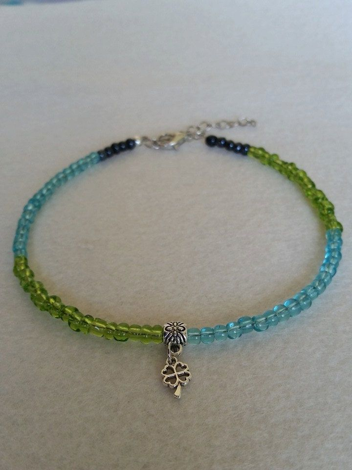 Green blue and black transparent glass seed bead anklet with charm