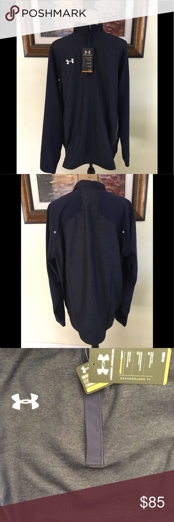 Under Armour Jacket Under Armour Jacket.  New with tag.  Half zip.  Navy color.  Pullover style.  Classic to wear all year season.  Loose fit.  Wear to feel Dry and light. Under Armour Jackets & Coats Performance Jackets