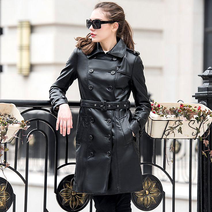2017 Chaqueta de Primavera Mujeres Largo Trench Coat PU Imitación de Cuero Chaquetas UV1087 Cuir Femme Negro Abrigos Largos De Cuero Perfecto