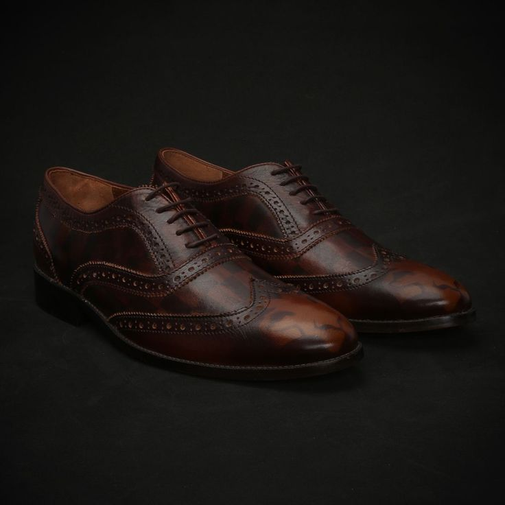 BUY #BROWN CHECK & LION MONOGRAM DESIGN PAINTED LEATHER #BROGUE SHOES FOR MEN ONLINE