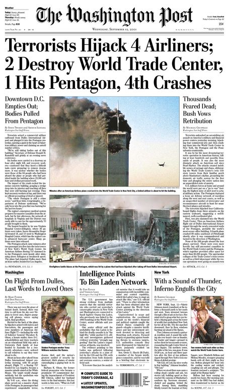 *9/11 ~ THE WASHINGTON POST: 'Terrorist Hijack 4 Airliners; 2 Destroy World Trade Center, 1 Hits Pentagon, 4th Crashes....