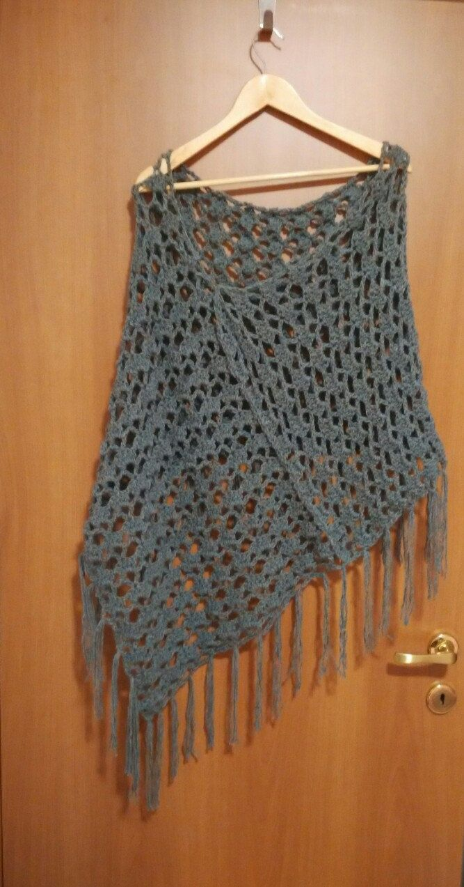 crochet poncho, grey, shell stich lace by yrozafcrocheting on Etsy