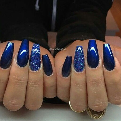 Blue coffin nails | Nails on fleek | Nails, Blue Nails ...