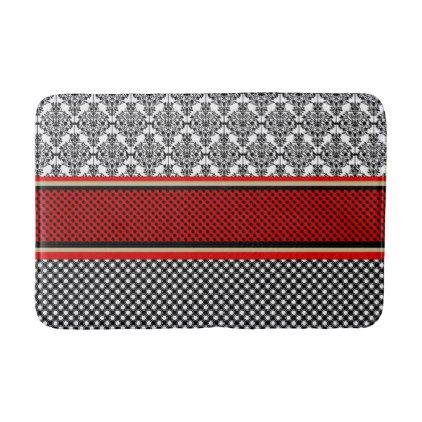 #Red and black Victorian print bath mat - #Bathroom #Accessories #home #living