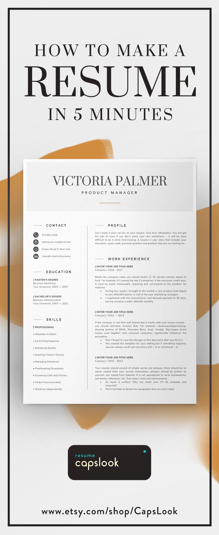 New Job Gift Two Page Resume Curriculum Vitae Template Word