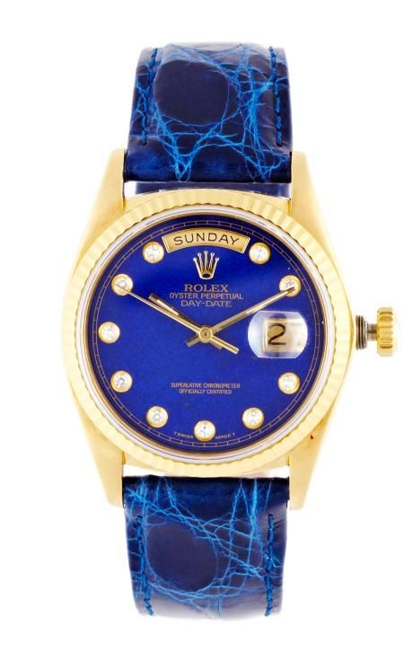 Vintage Rolex 18K Yellow Gold Day-Date President With Lapis Diamond Dial by CMT Fine Watch and Jewelry Advisors for Preorder on Moda Operandi