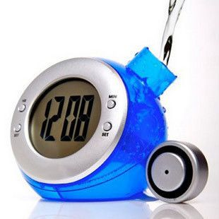 Eco-friendly Digital LCD Clock Novelty... POWERED BY WATER!
