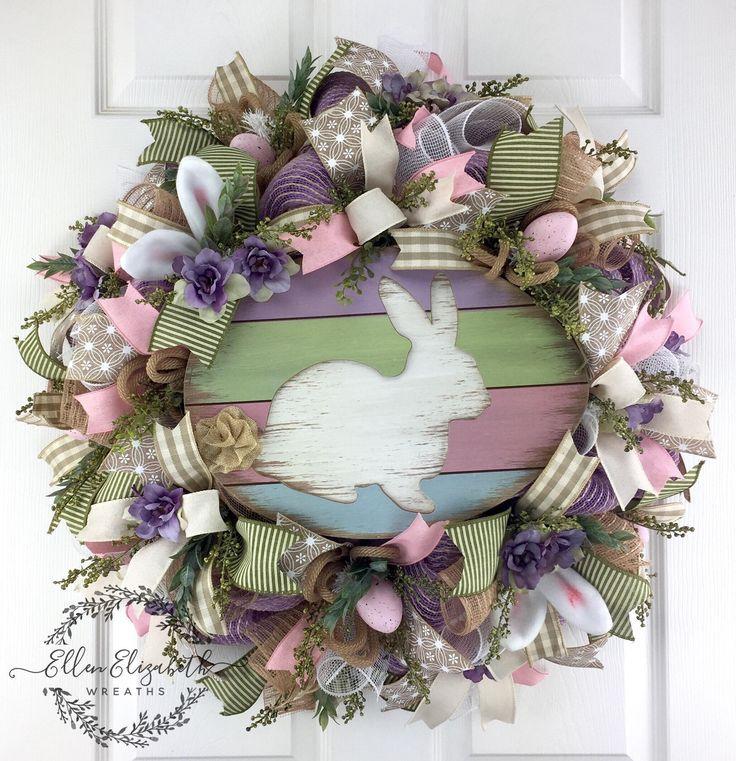 Easter Mesh Wreath / Rabbit Wreath / Bunny Wreath / Easter Bunny Wreath / Spring Mesh Wreath / Easter Wreaths for Front Door / Easter Wreath by EllenElizabethWreath on Etsy #easterbunny, #easterwreath