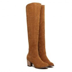 $30.58 Pretty Women's Thigh Boots With Suede and Zipper Design