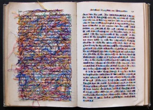 Lauren Dicioccio Cross stitched books