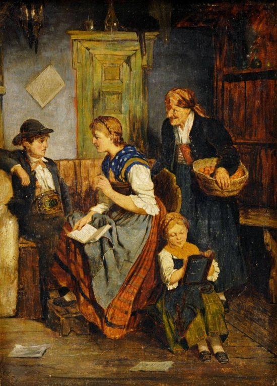 Děti se učí doma-Quido Mánes (Czech, 1828-1880)