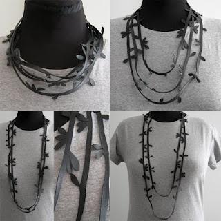 bike inner tube - handcut necklace.