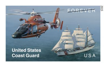 The United States Coast Guard stamp is being issued as a Forever® in 2015 This Forever stamp will always be equal in value to the current First-Class Mail® one-ounce price.