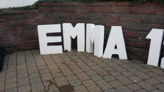 Styrofoam letter 24  to 30 inch free standing glitter4 inch thick styrofoam letter in names ans colors of your choice and a variety of fonts