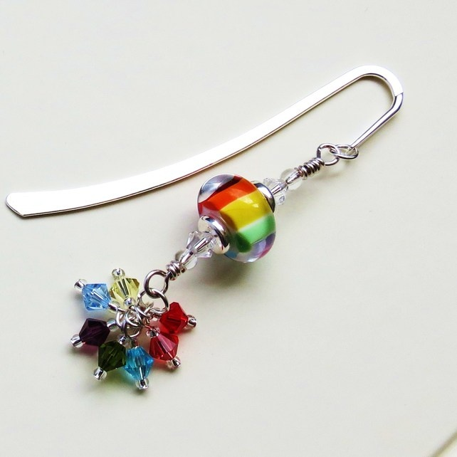 Rainbow Sparkle lampwork beaded bookmark. £12.00