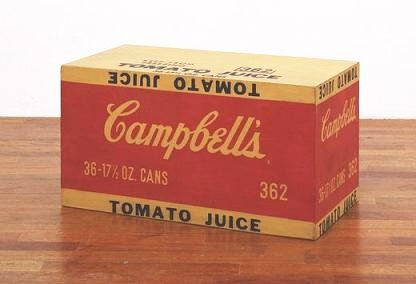 Andy Warhol, Campbell's Tomato Juice Box, 1964, Synthetic polymer paint and silkscreen ink on wood, 10 inches × 19 inches × 9½ inches (25.4 × 48.3 × 24.1 cm), Museum of Modern Art, New York City
