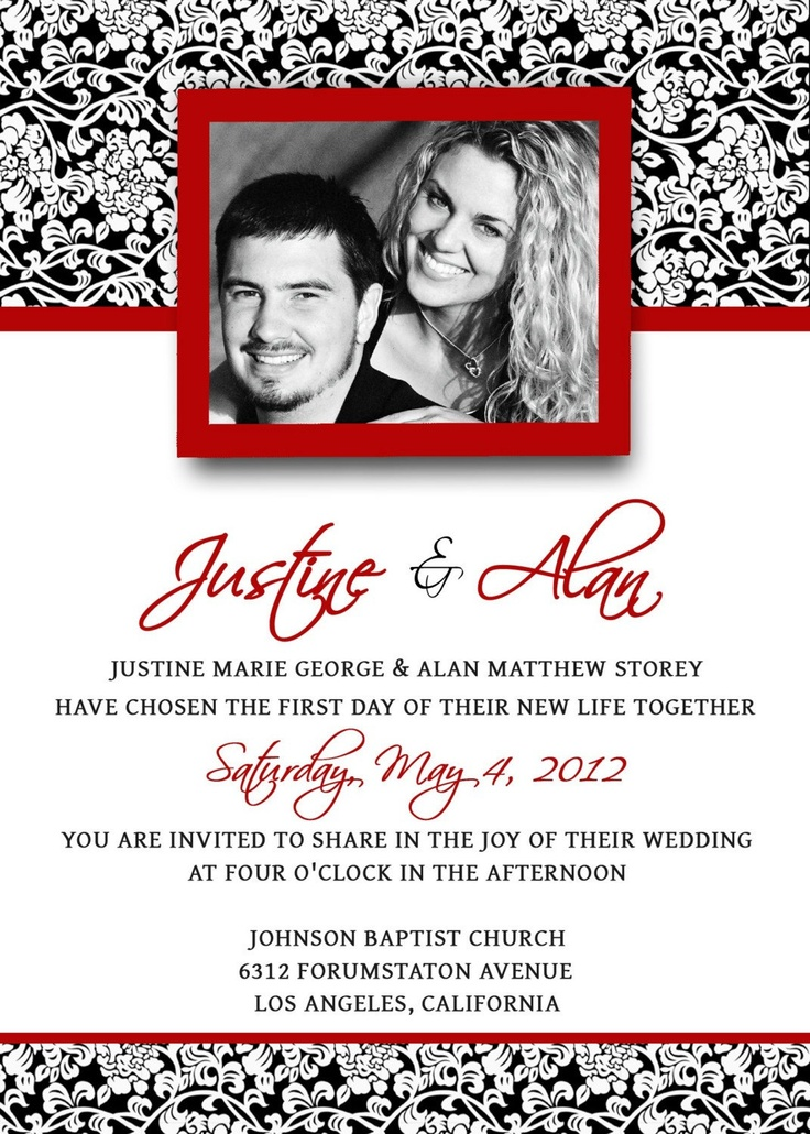 23 best Custom Wedding Invitations images – Black Red White Wedding Invitations