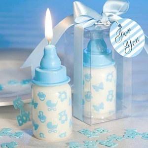 Bougies en forme de biberon pour cadeaux aux invités sur www.mybbshowershop.com