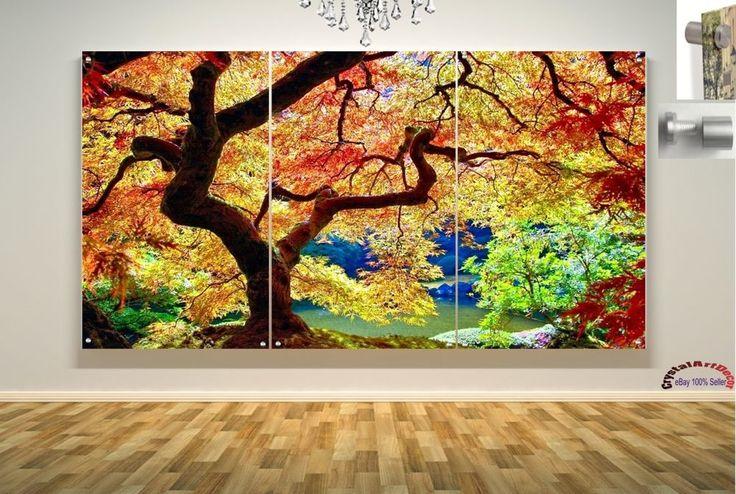 Wall Art Decor Floating Acrylic Glass Plexiglass Modern Art  Trees Forest #Handmade #Modern