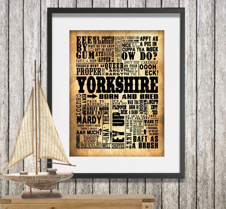 Traditional Yorkshire sayings word art canvas print.  www.monkeyofthenorth.co.uk