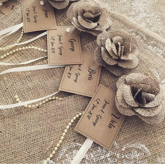 Hessian table placement cards... created into placemats.