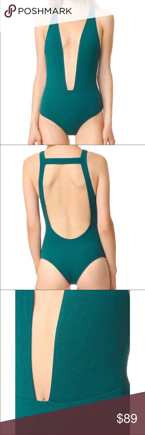 Beach Riot Willow One Piece in Forest Green Brand New with tags:   A plunging front cutout reveals a sexy glimpse of skin on this brazilian-cut Beach Riot swimsuit. Lined.  Retails: $130 •95% polyester/5% spandex. •Hand wash. •Made in the USA. Beach Riot Swim One Pieces