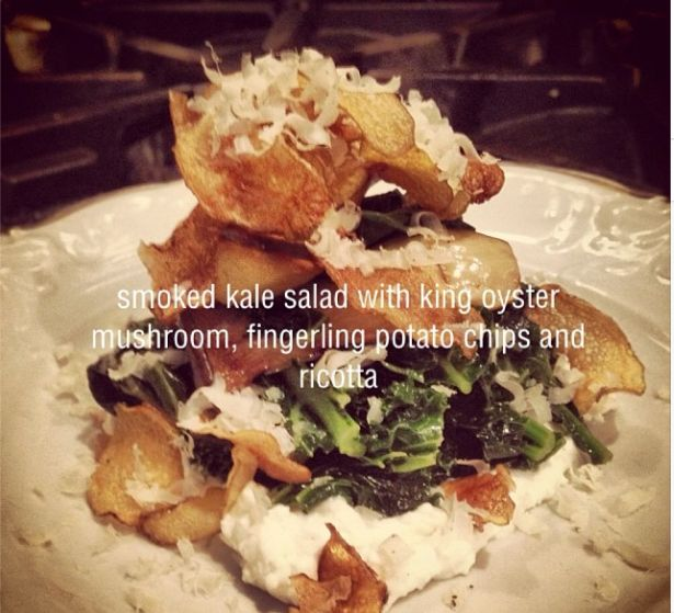 smoked kale salad with king oyster mushroom, fingerling potato chips and ricotta