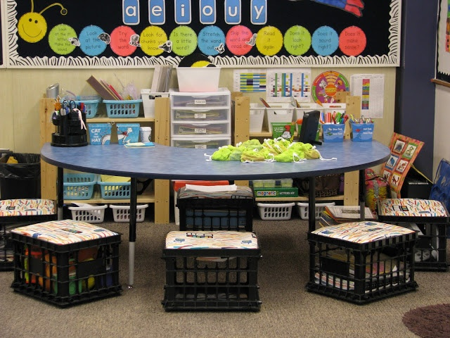 Guided Reading Table maybe each child has an assigned spot and their supplies are in the crates? I have 5 made already... This could work