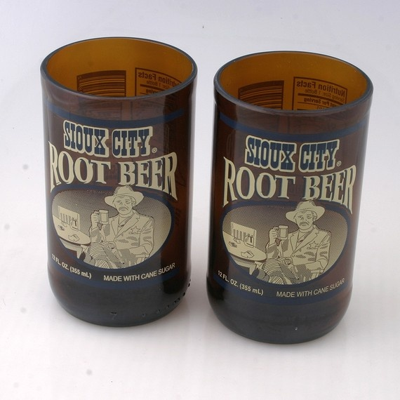 Pair of Sioux City Root Beer glasses made from recycled bottles by pic76, $12.00