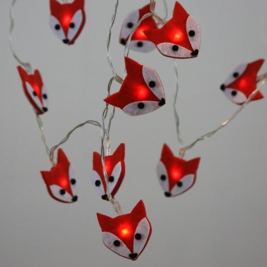 Felt Fox LED Fairy String Light Chain Battery Operated