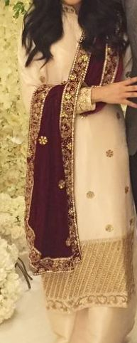 chanderi silk cream off white gold long kurta w small collar long sleeves plazzo pants and maroon dupatta
