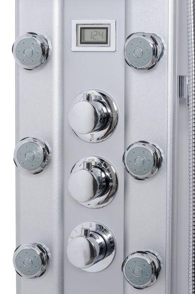Columna de hidromasaje para ducha y bañera con grifería termostática y acabado en aluminio. Dispone de 8 jets orientables con varios tipos de salida de agua, rociador...