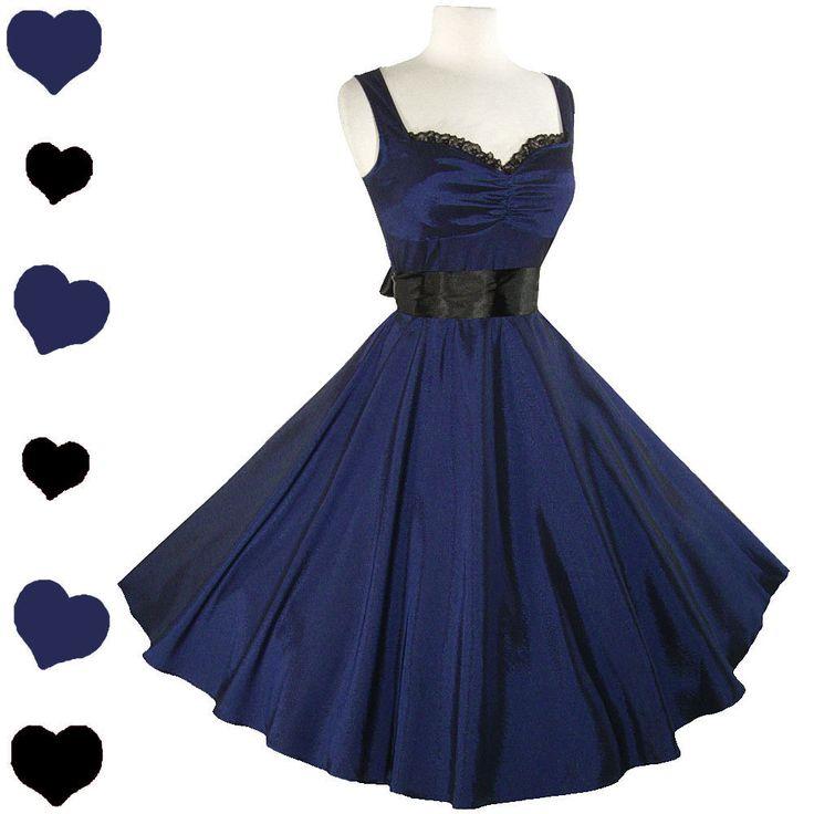 Swing Dance Dresses for Sale | pinupdresses new blue retro full skirt dress sweetheart lace neckline