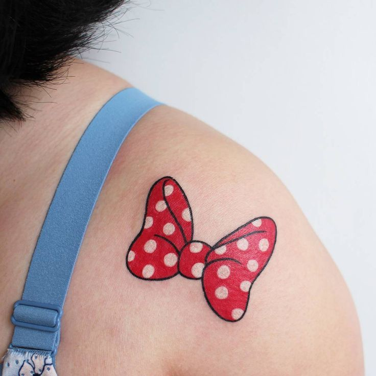"355 Likes, 9 Comments - Jessica Channer  (@jessicachanner) on Instagram: ""Minnie Mouse bow for Yuki! Thanks for trusting me with your first tattoo!  #tattoo #tattoos…"""