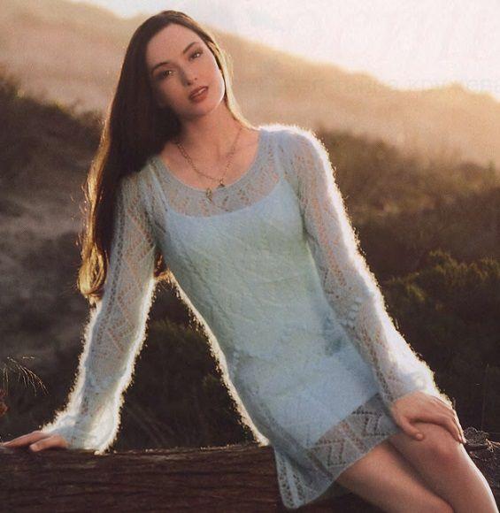 Схемы вязание мини зимних платьев