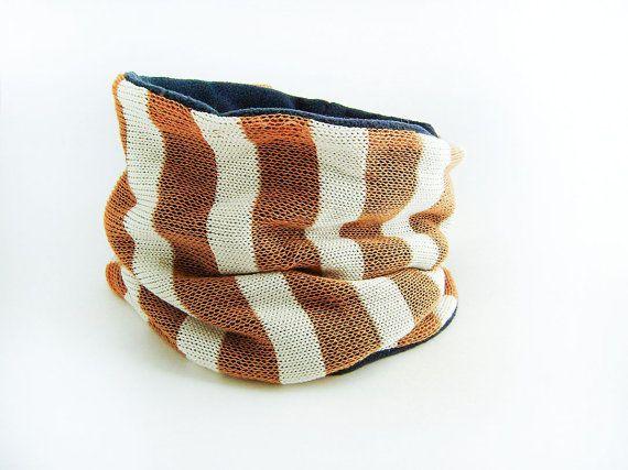 Cache-cou cache col tricoté rayé jaune orangé et blanc par Emillye