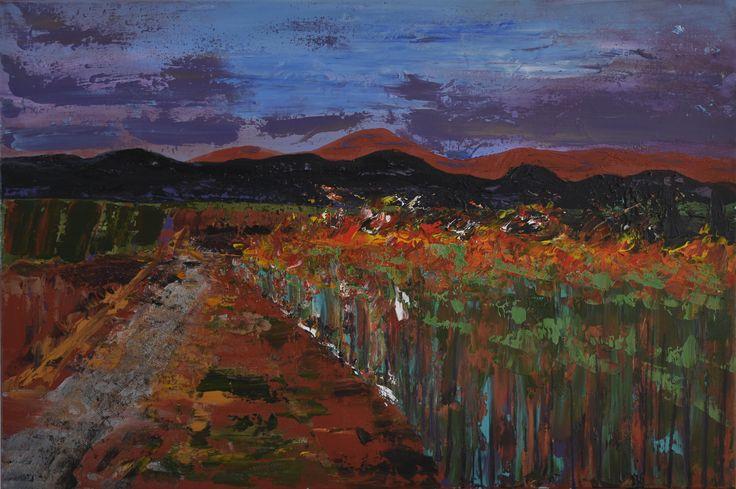 """Sugar Road - No 1 in Series ""Cane Fires"" "" by Deborah Christensen. Paintings for Sale. Bluethumb - Online Art Gallery"