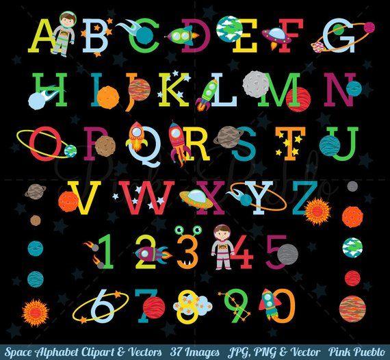 Space Alphabet Clipart Space Alphabet Clip Art Astronaut Clipart