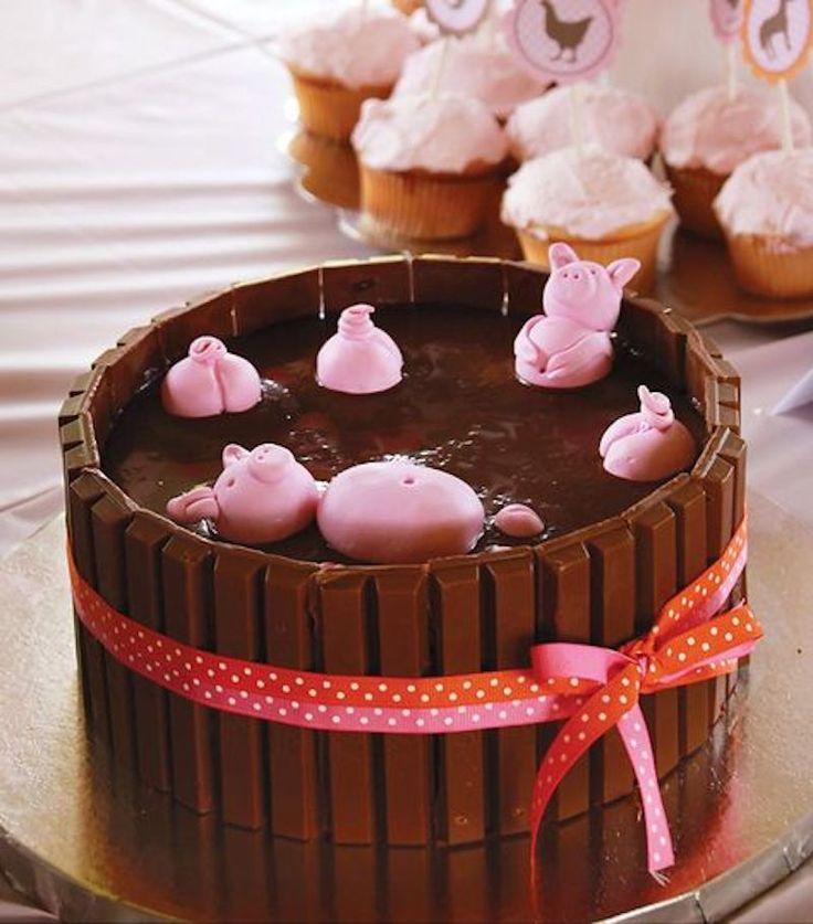 Festa infantil tema fazendinha, bolo porquinhos