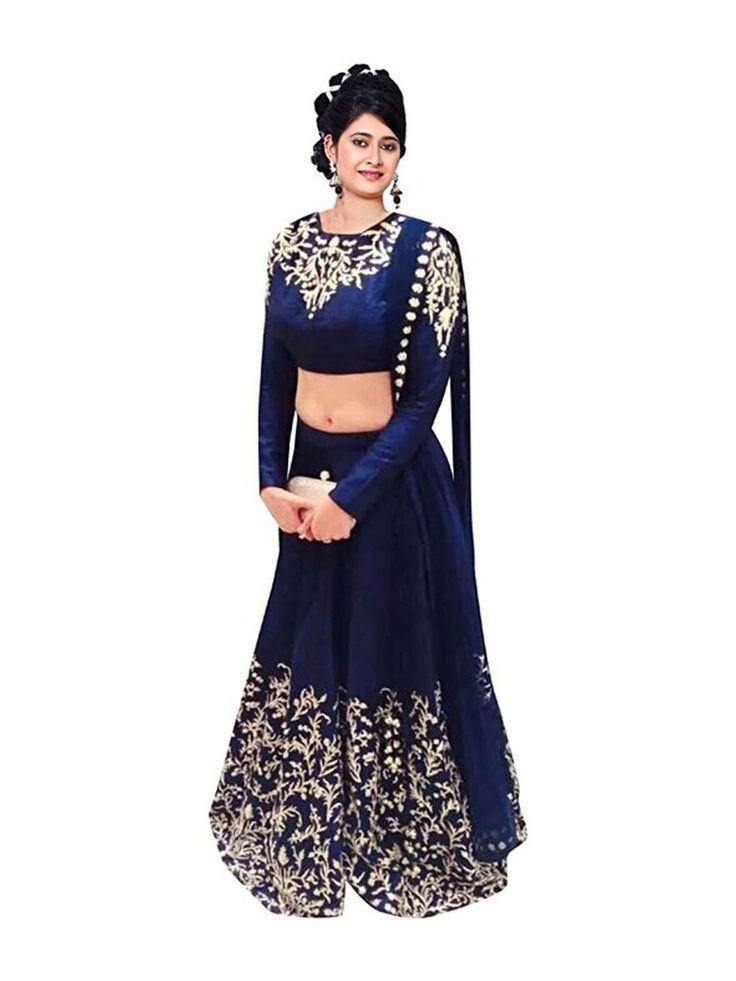 Prachi Brand #Bollywood Designer #Lehenga - Buy Blue Brocade Self Designed Lehenga For only Rs.440 from Godomart Online Shopping Store India. http://bit.ly/1XyD2PK
